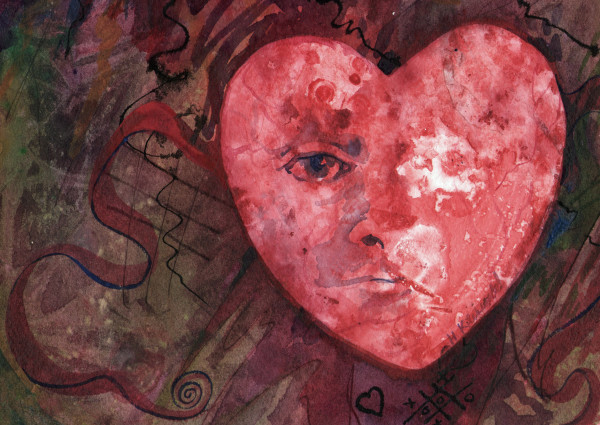 Heart an original watercolor by Helen R Klebesadel