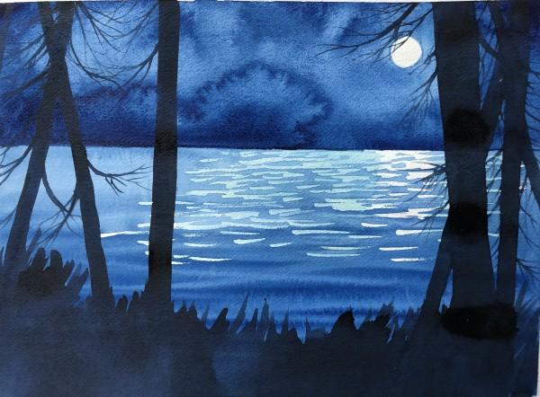 Blue Moon I by Helen R Klebesadel