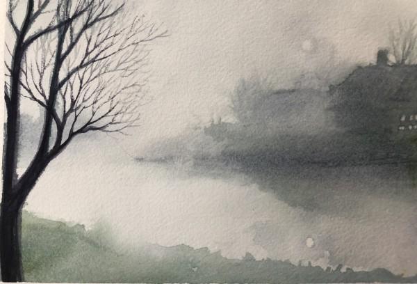 Misty River Study by Helen R Klebesadel