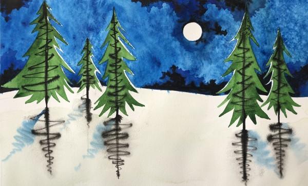 Pine Moon Study II by Helen R Klebesadel