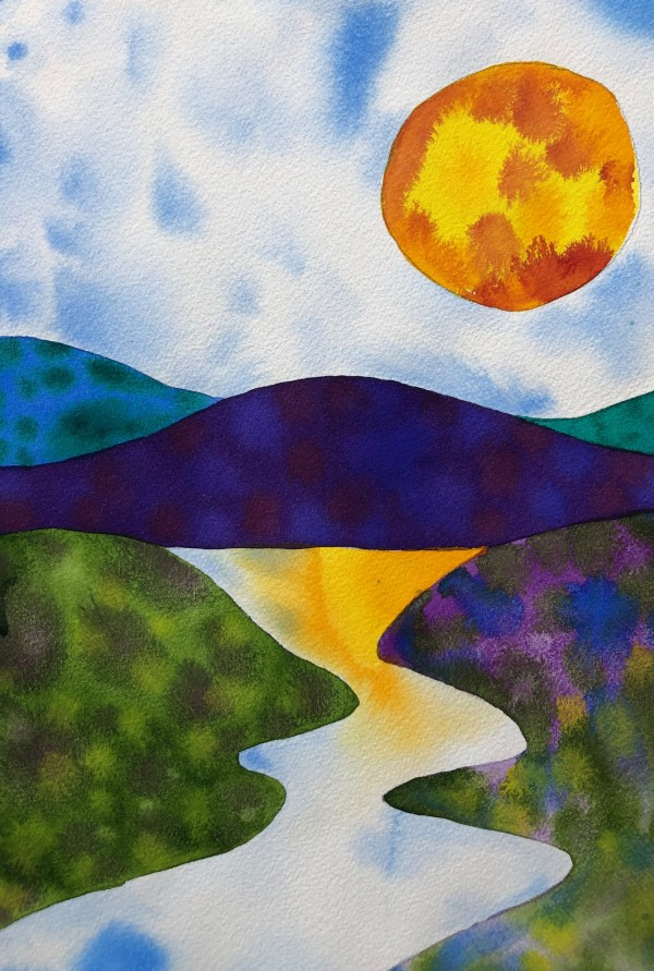 Abstract Moon River Landscape by Helen R Klebesadel