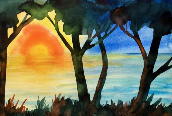 Lake Michigan Sunrise by Helen R Klebesadel