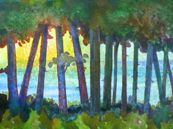 Lake View at Dusk Study an original watercolor by Helen R Klebesadel
