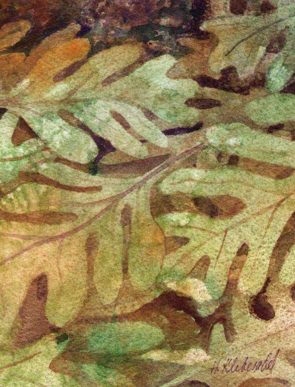 Oak Leaves II an original watercolor by Helen R Klebesadel