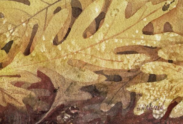Oak Leaves I an original watercolor by Helen R Klebesadel