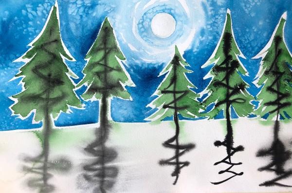 Winter Moon Study I by Helen R Klebesadel