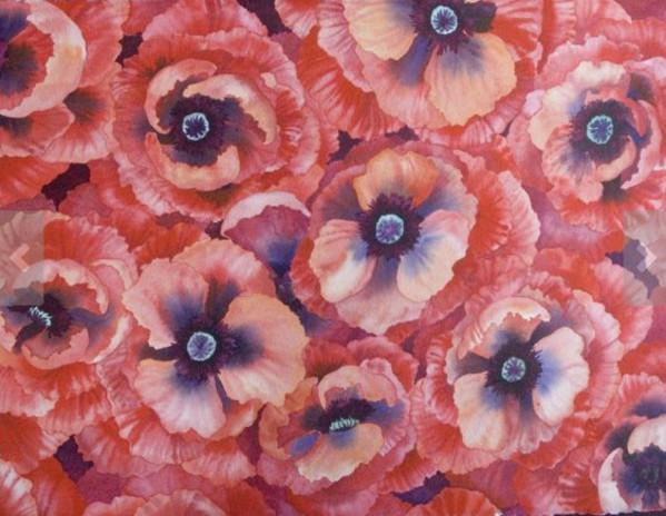 Poppy Field an original watercolor by Helen R Klebesadel