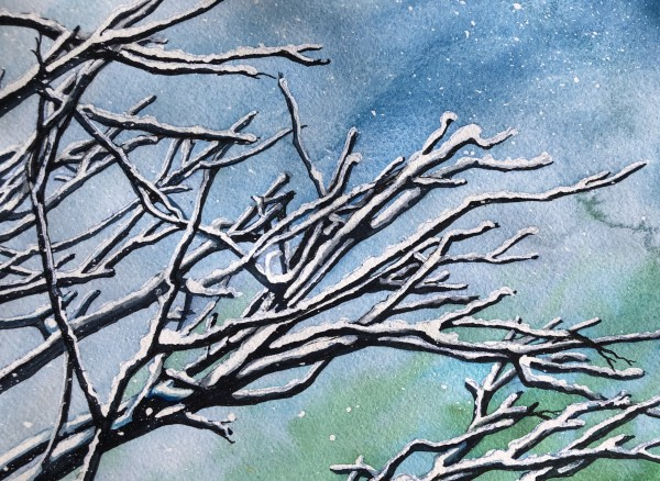 Snow on Branches III by Helen R Klebesadel