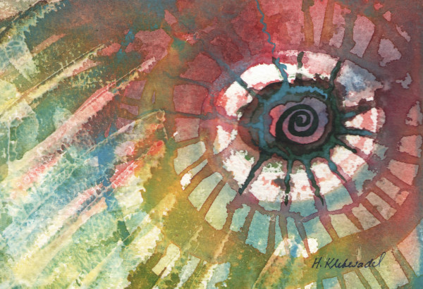 Abstract Spiral an original watercolor by Helen R Klebesadel