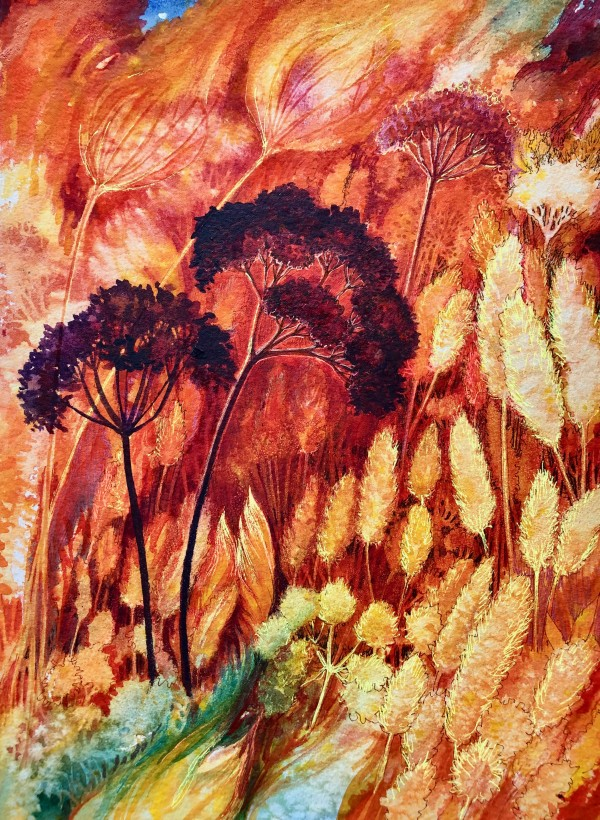 Prairie Fire:  Spring Renewal Study II an original watercolor by Helen R Klebesadel