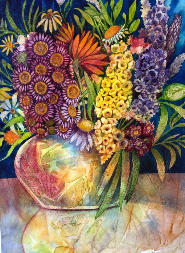 Summer Bouquet V an original watercolor by Helen R Klebesadel