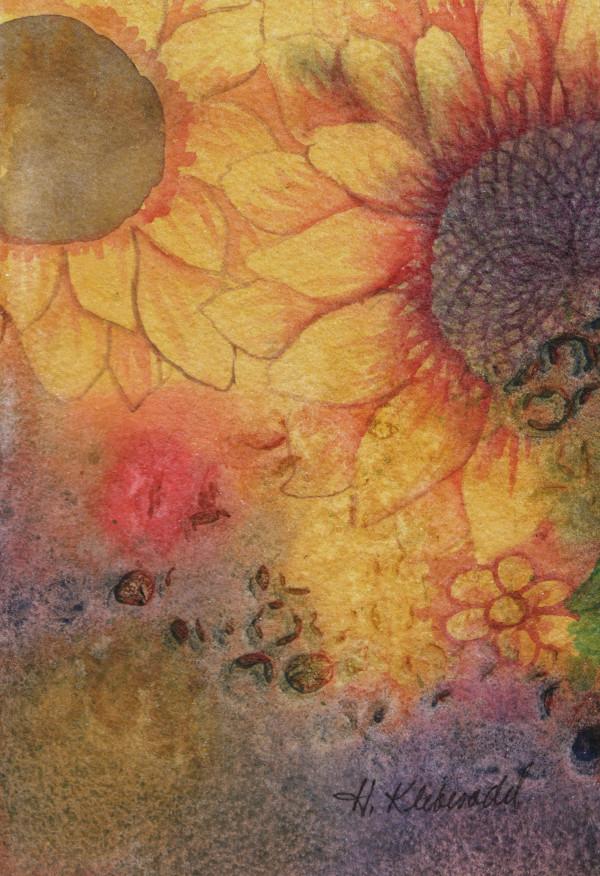 Sunflower Study an original watercolor by Helen R Klebesadel