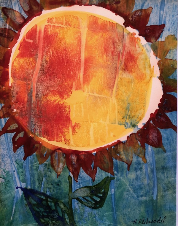 Sunflower Study II an original watercolor by Helen R Klebesadel