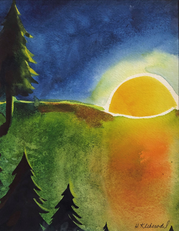 Sunset Pines Study I by Helen R Klebesadel