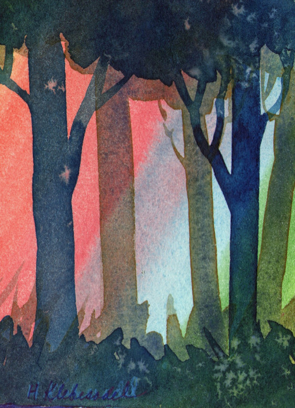 Sunset Trees II original Watercolor by Helen R Klebesadel