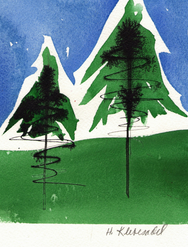 Two Pines an original watercolor and ink by Helen R Klebesadel