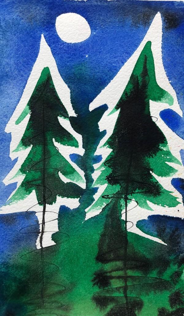 Two Pines II by Helen R Klebesadel