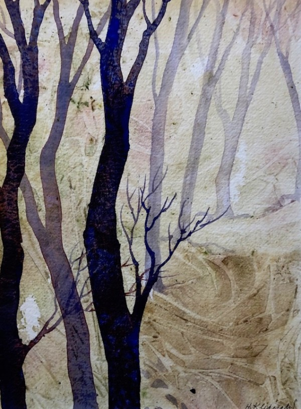 Into the Woods an original watercolor by Helen R Klebesadel
