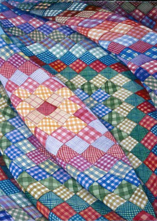Gingham Square Quilt by Helen R Klebesadel