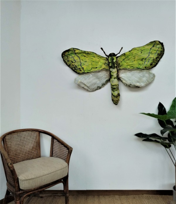 Puriri Moth - Canvas/Wire  ..  (19272) by Liz McAuliffe