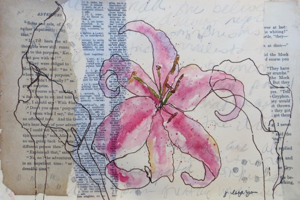 Pink Stargazer and Calla Lilies  ~ original artwork inspired by Friday Kahlo's journals by Jane LaFazio