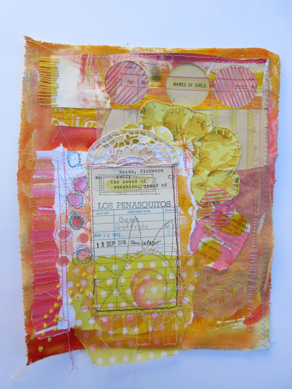 The Sound of Sunshine ~ library card collage by Jane LaFazio