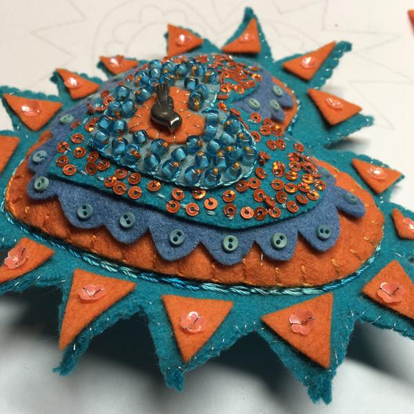Milagros ~ turquoise and orange by Jane LaFazio