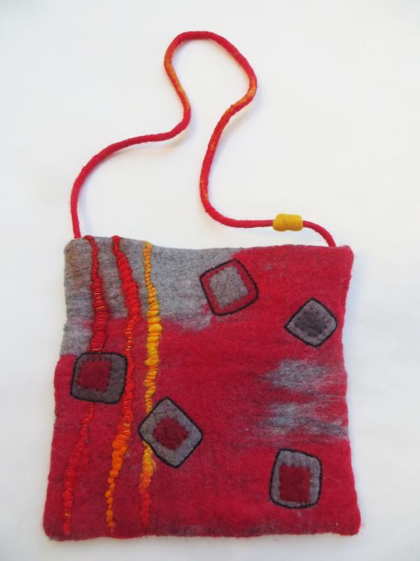 Red Purse~wet-felted  by Jane LaFazio