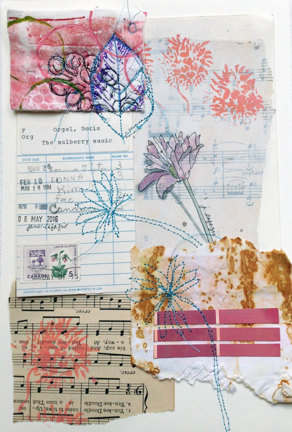 Mulberry Music ~ an original mixed media collage by Jane LaFazio
