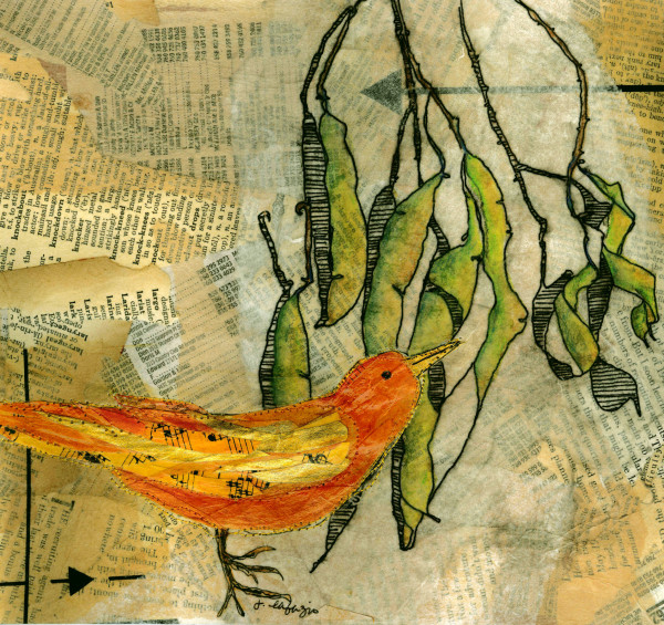 Orange Bird & Pods by Jane LaFazio