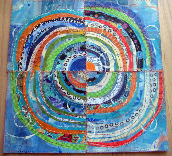 Recycled Circles: Blue and Orange by Jane LaFazio