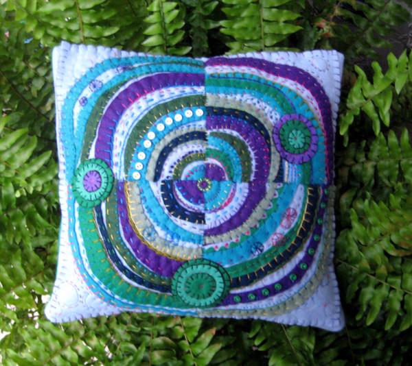 Recycled Circles: felt pillow by Jane LaFazio