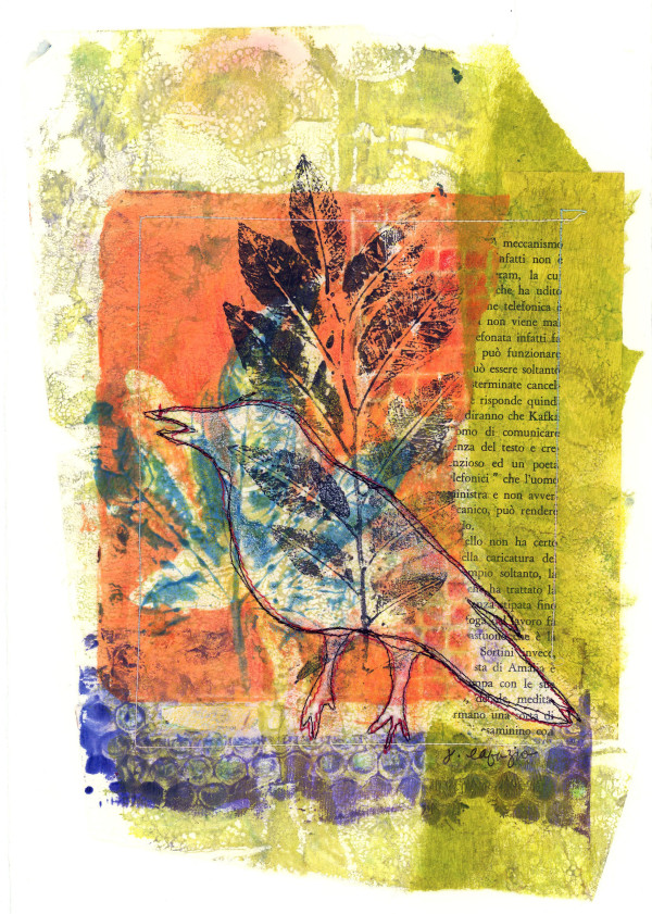 Can't see the Bird for theTrees ~ original artwork, stitched mono print by Jane LaFazio