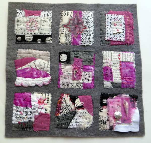 Pink House by the Sea ~ text on textiles by Jane LaFazio