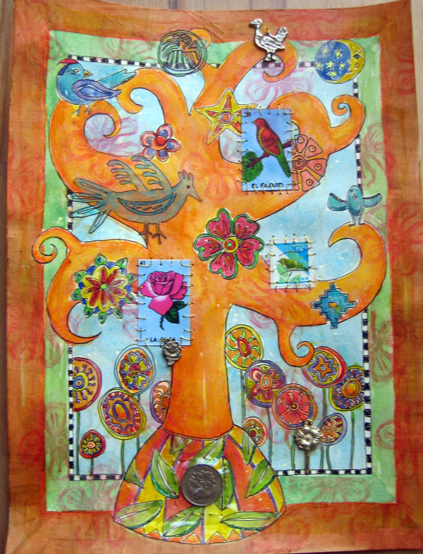 Tree of Life ~ Flowers and Birds by Jane LaFazio
