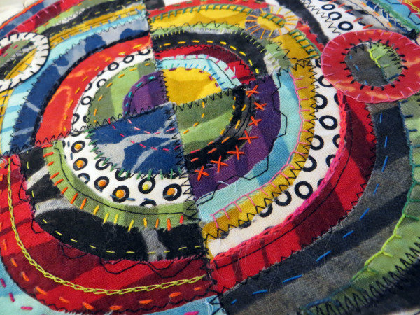 Recycled Circles TWO red circles by Jane LaFazio