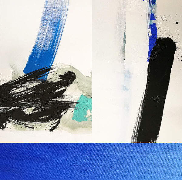 Composition #1 Triptych with Blue Stripe by shih yun yeo