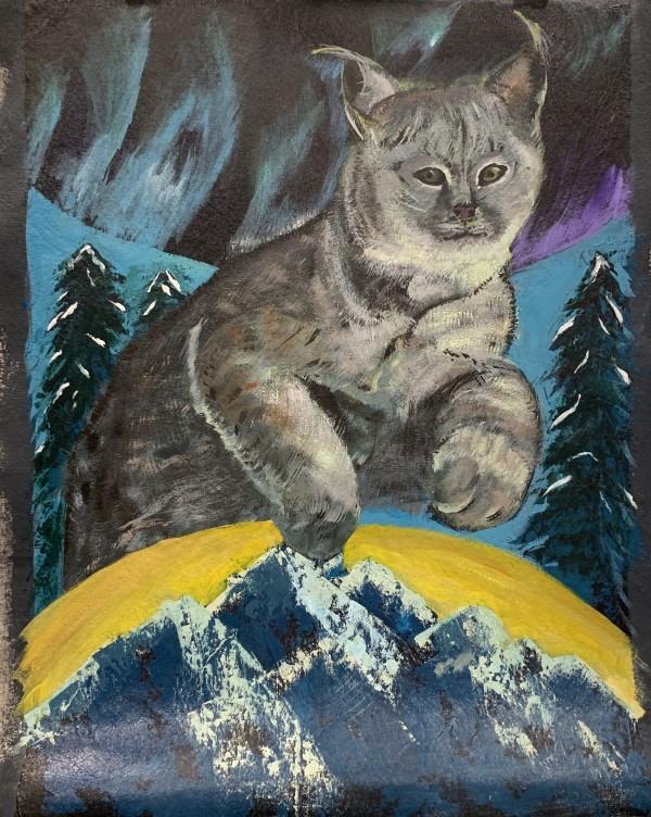Lynx under aura borealis lights by Pamela Bell