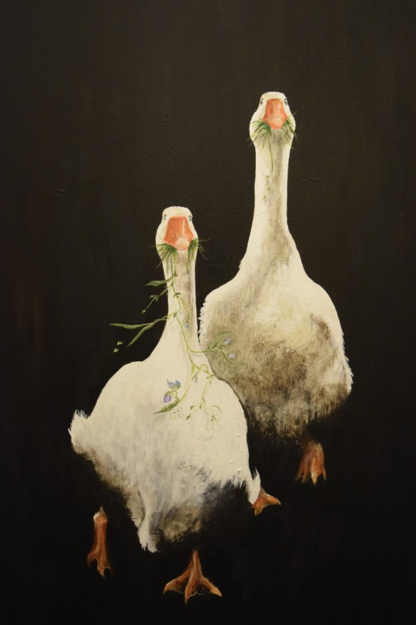 Geese Mate for Life, Phillip and Elizabeth by Ann A Blake