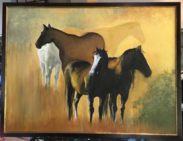 Horses - Golden Light by Ann A Blake
