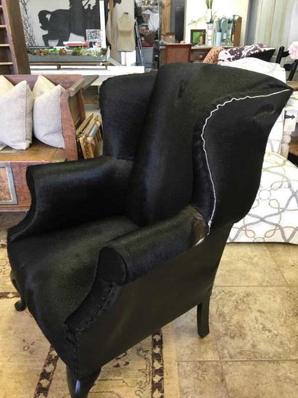 Chair hair on hide black by Ann A Blake