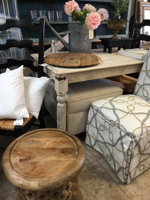 Furniture - Linen foot stool, beige by Ann A Blake