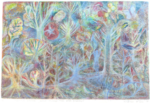 Swansea Garden, Light through Pale Blue Branches by Andrea McLean