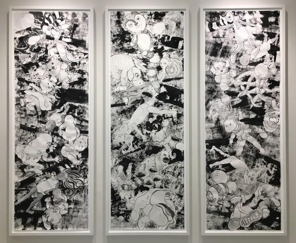 Falling Toys (Triptych) by Karen Moss