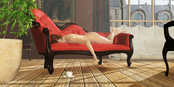Nude Red Chaise by Peter J Sucy Digital Arts