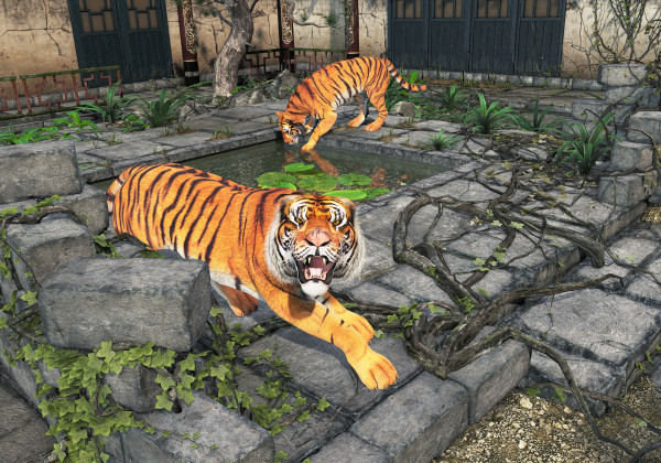 Tigers in the Courtyard by Peter J Sucy Digital Arts