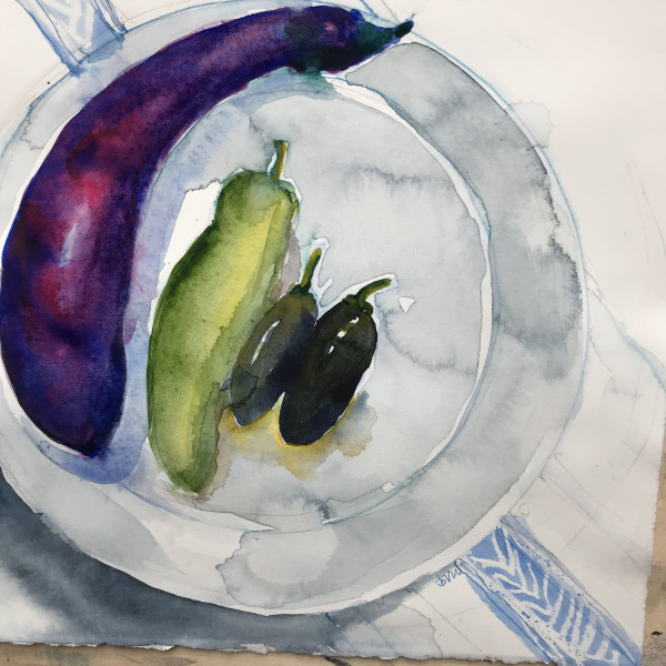 fresh eggplant & peppers 959 by beth vendryes williams