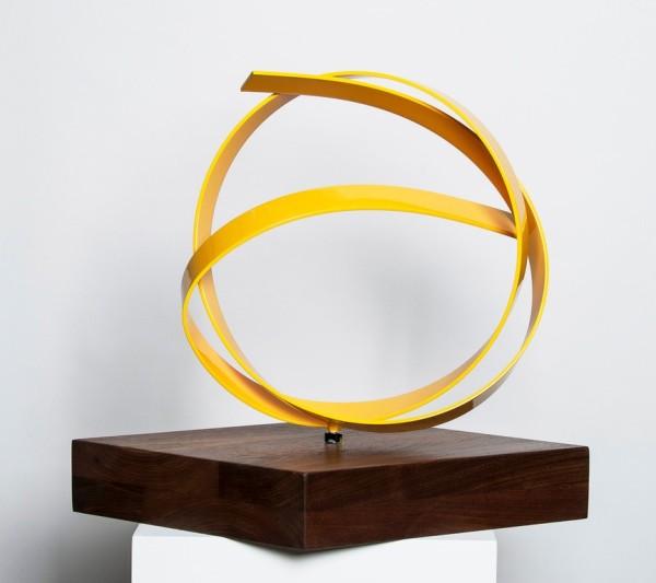 Yellow Knot on Walnut Base by Joe Gitterman