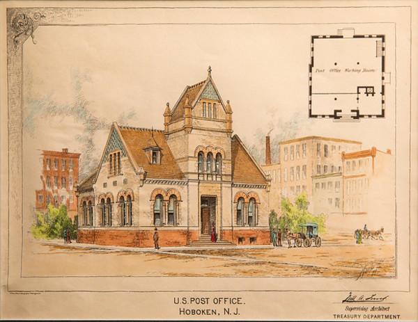 U.S. Post Office, Hoboken, New Jersey by Artist Unknown