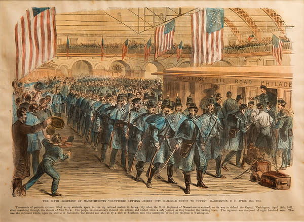 The Sixth Regiment of Massachusetts Volunteers Leaving Jersey City Railroad Depot by Artist Unknown